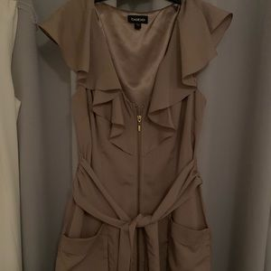 Tan BeBe Dress with Gold zipper